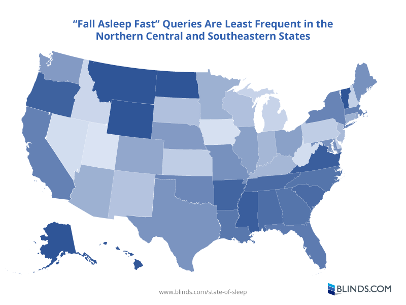 Map showing number of Fall Asleep Fast queries by state. Data from Google Trends.