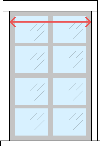 Determine width for inside mount roller shades by measuring across the inside edge of the window frame  at the top